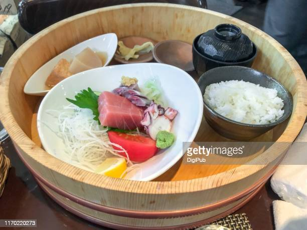 sashimi lunch meal served in hangiri - pickled ginger stock pictures, royalty-free photos & images