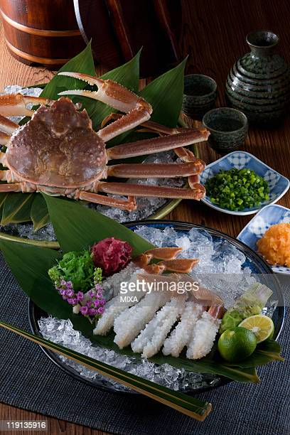 sashimi of echizen-gani - chionoecetes opilio stock photos and pictures