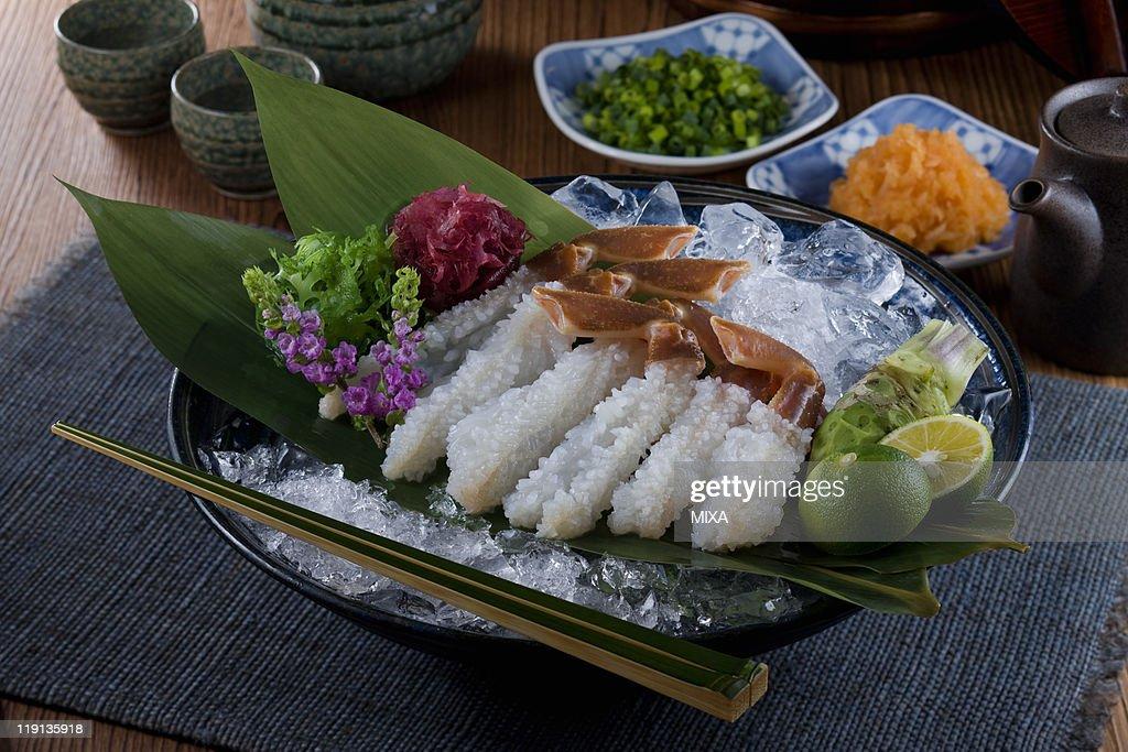 Sashimi of echizen-gani : Stock Photo