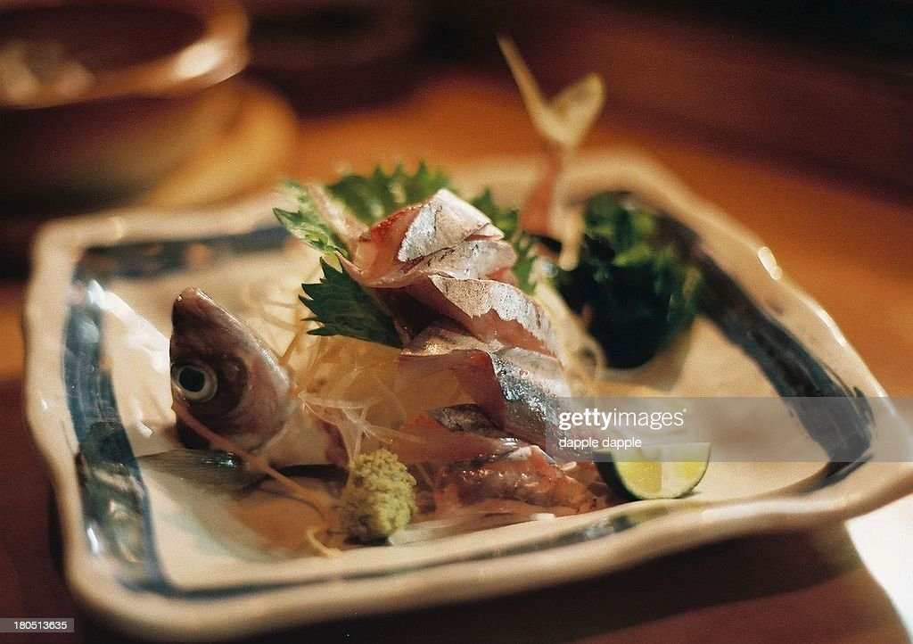 Sashimi of horse mackerel : Stock Photo