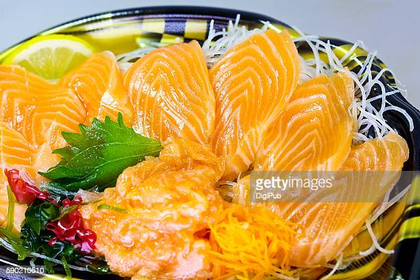 sashimi of norwegian trout - dikon radish stock photos and pictures