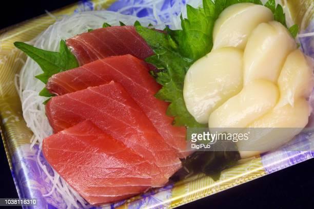 sashimi of tuna and scallops - sashimi stock pictures, royalty-free photos & images