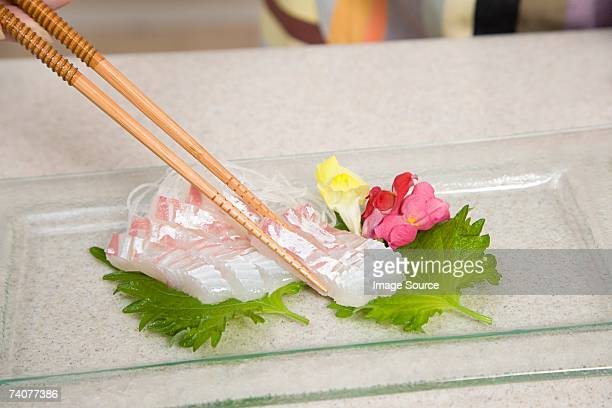 sashimi - shiso stock pictures, royalty-free photos & images