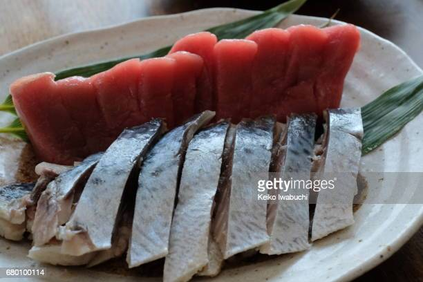 Sashimi, raw fish. Tuna and Mackerel