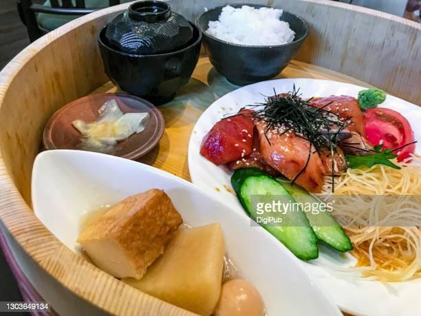 sashimi teishoku served in hangiri - nimono bildbanksfoton och bilder