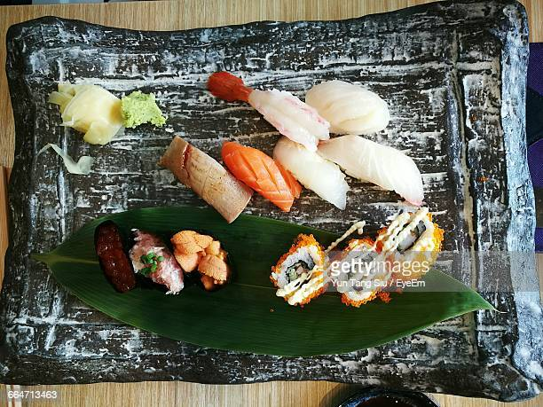 Sashimi With Sushi On Tray