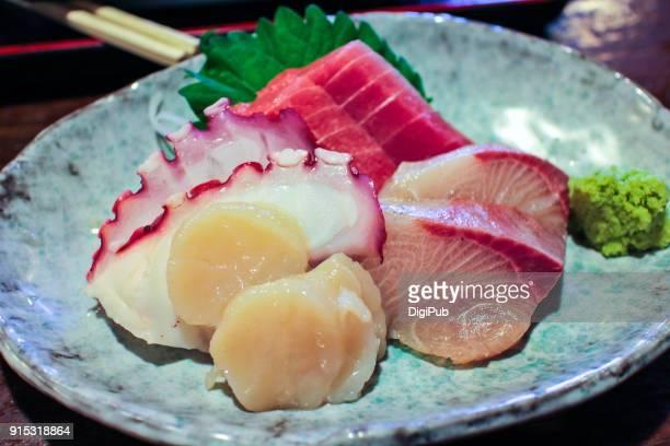 Sashimi with tuna, octopus, yellowtail and scallops