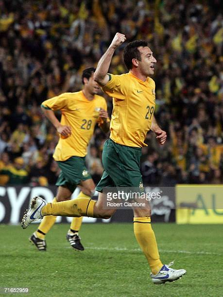 Sasho Petrovski of Australia celebrates scoring during the Asian Football Confederation Asian Cup 2007 qualifying match between Australia and Kuwait...