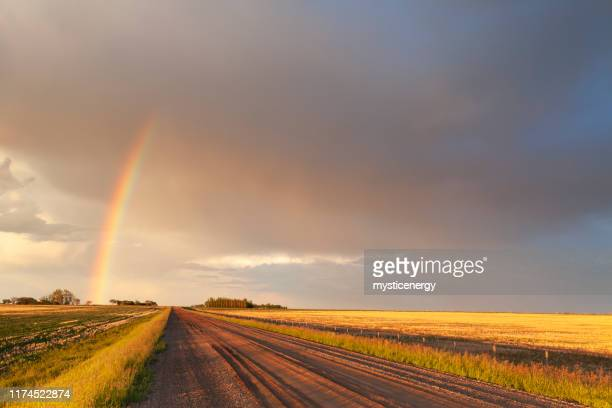 saskatchewan canada storm chasing - rainbow stock pictures, royalty-free photos & images
