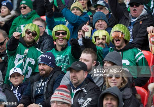 TORONTO ON NOVEMBER 19 Saskatchewan fans show their supportas the Toronto Argonauts host the Saskatchewan Roughriders in the CFL Eastern Final at BMO...