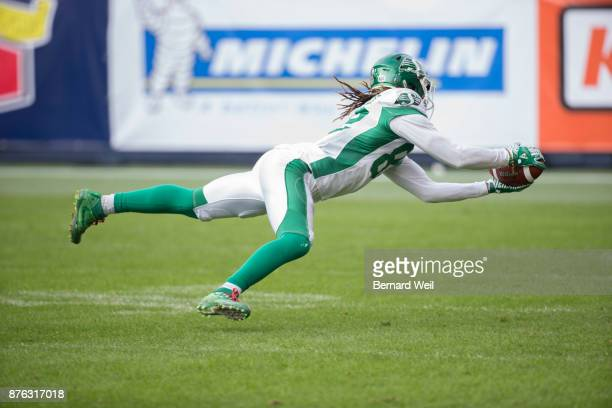 TORONTO ON NOVEMBER 19 Saskatchewan Roughriders wide receiver Naaman Roosevelt makes a catch in the 1st quarter as the Toronto Argonauts host the...