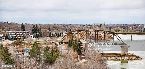 saskatoon bridge under construction - saskatoon stock photos and pictures