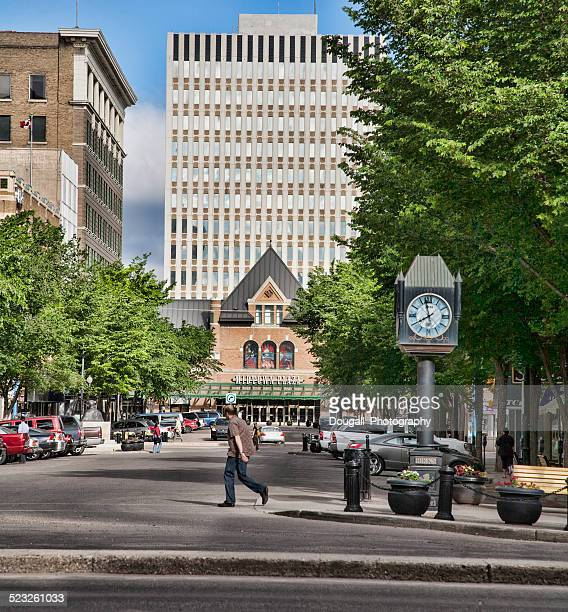 Saskatoon Downtown 21st Street with Midtown Plaza and Birks Clock