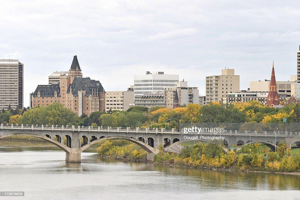 Saskatoon Downtown Skyline with Bridge Hotels and Condominiums : Stock Photo