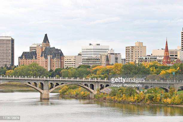 Saskatoon Downtown Skyline with Bridge Hotels and Condominiums