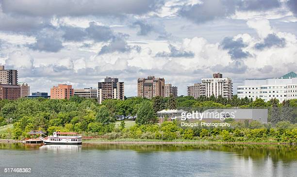 Saskatoon Riverbank With Art Gallery and Riverboat
