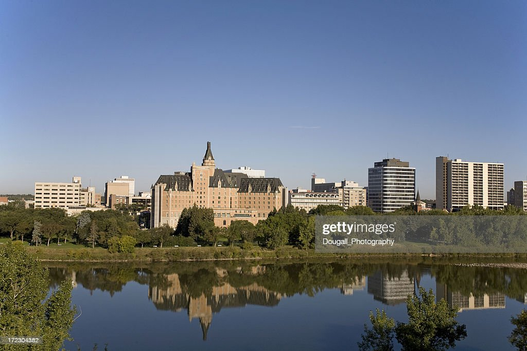 Saskatoon Riverbank With Bessborough Hotel : Stock Photo