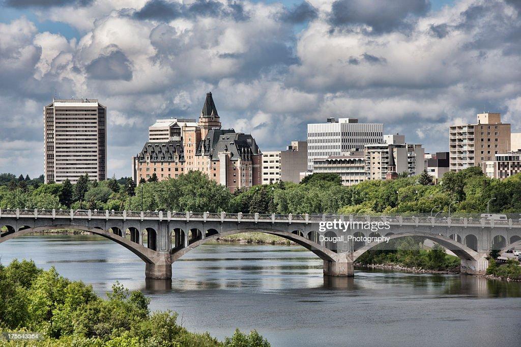 Saskatoon skyline with broad view of the University Bridge : Stock Photo