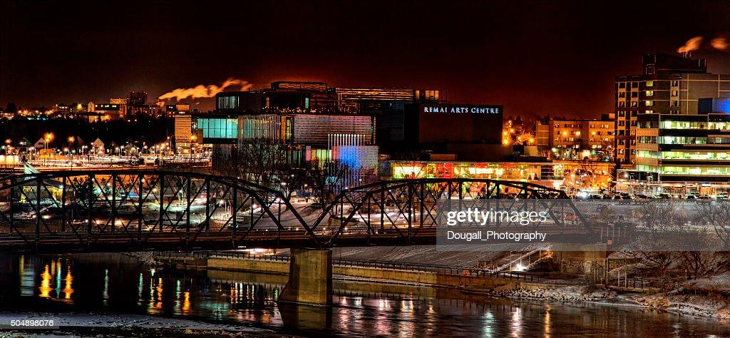 Saskatoon Traffic Bridge and Art Gallery at Night : Stock Photo