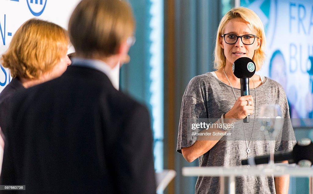 Saskia Bartusiak of FFC Frankfurt attends the Allianz Frauen Bundesliga season opening press conference at DFB Headquarter on August 29, 2016 in Frankfurt am Main, Germany.