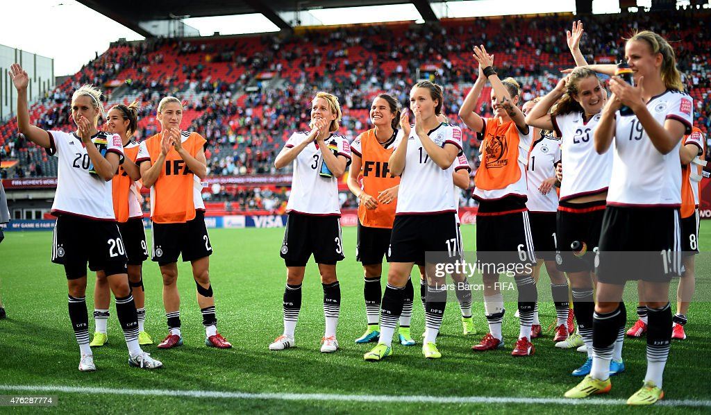 Saskia Bartusiak of Germany and team mates celebrate after winning the FIFA Women's World Cup 2015 Group B match between Germany and Cote D'Ivoire at Lansdowne Stadium on June 7, 2015 in Ottawa, Canada.