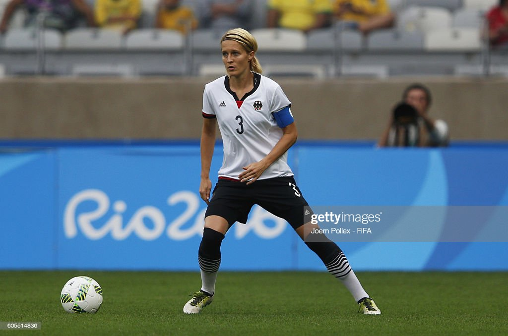 Saskia Bartusiak of Germany controls the ball during the Women's Semi Final match between Canada and Germany on Day 11 of the Rio2016 Olympic Games at Mineirao Stadium on August 16, 2016 in Belo Horizonte, Brazil.