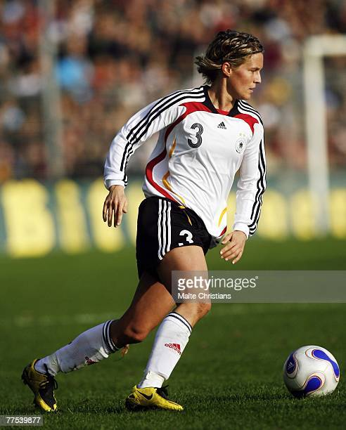 Saskia Bartusiak of Germany in action during UEFA Womens European Championship Qualifying match between Germany and Belgium on October 28 2007 in...