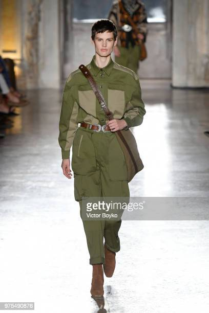 Saskia De Brown walks the runway at the Alberta Ferretti show during Milan Men's Fashion Week Spring/Summer 2019 on June 15 2018 in Milan Italy