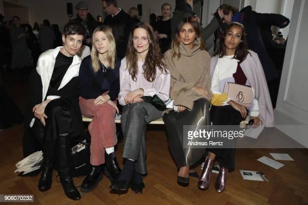 Saskia Diez Aino Laberenz Anne RattePolle Wana Limar and Rabea Schif attend the Perret Schaad presentation during 'Der Berliner Salon' AW 18/19 at...