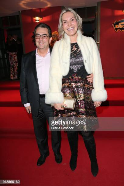 Saskia Greipl and her husband Stavros Kostantinidis during Michael Kaefer's 60th birthday celebration at Postpalast on February 2 2018 in Munich...