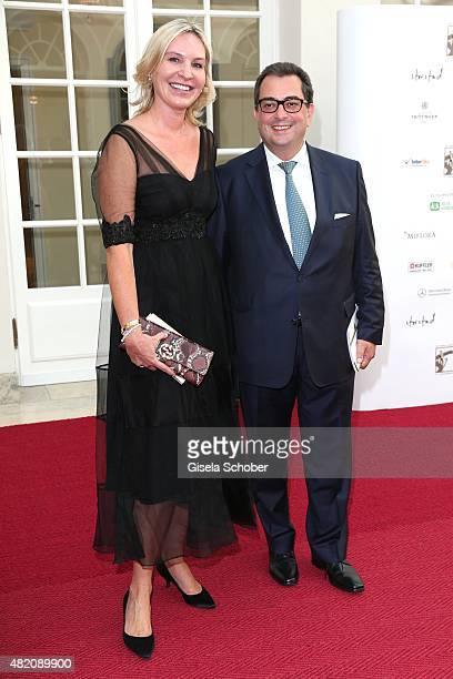 Saskia Greipl and her husband Stavros Kostantinidis during the 'Die Goldene Deutschland' Gala on July 26 2015 at Cuvillies Theater in Munich Germany