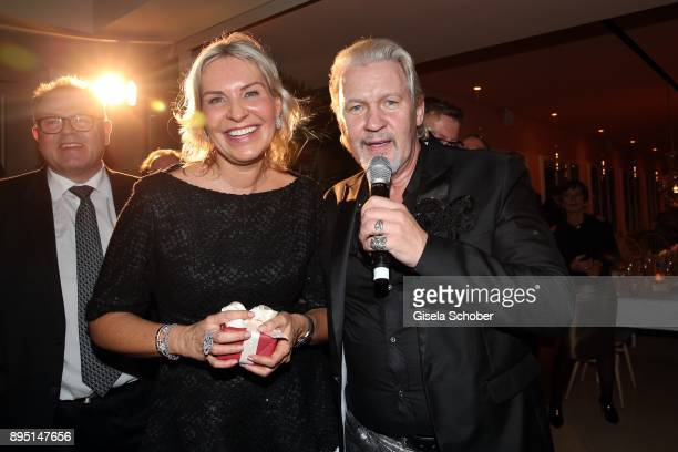 Saskia Greipl and Johnny Logan during the annual Christmas Roast Kid Dinner on December 18 2017 in Munich Germany