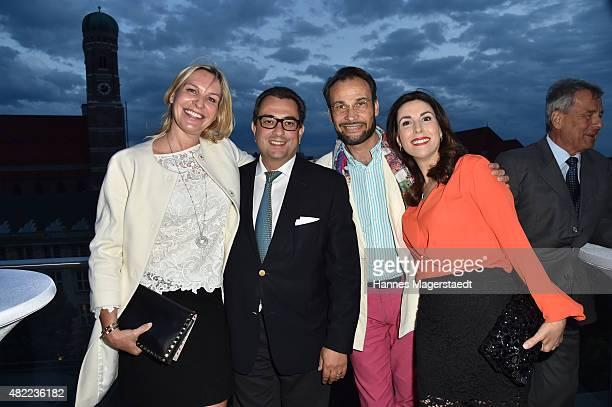 Saskia GreiplKostantinidis Stavros Kostantinidis AlexanderKlaus Stecher and his wife Judith Williams attend the summer party at Hotel Bayerischer Hof...
