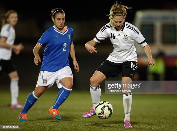 Saskia Matheis of Germany and Lisa Boattin of Italy fight for the ball during the women's U19 international friendly match between Germany and Italy...