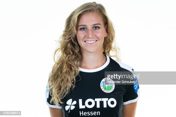 Saskia Matheis poses during the 1 FFC Frankfurt Women's team presentation on September 7 2018 in Frankfurt am Main Germany