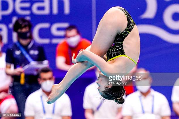 Saskia Maure Oettinghaus of Germany competing at the Team Event Final during the LEN European Aquatics Championships 1m Springboard Preliminary at...