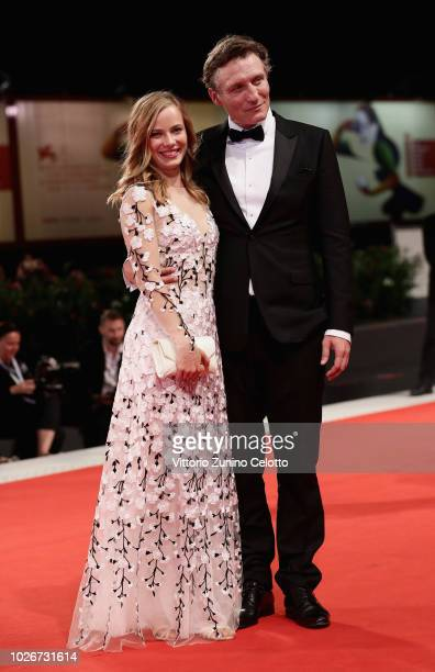 Saskia Rosendahl and Oliver Masucci walk the red carpet ahead of the 'Werk Ohne Autor ' screening during the 75th Venice Film Festival at Sala Grande...