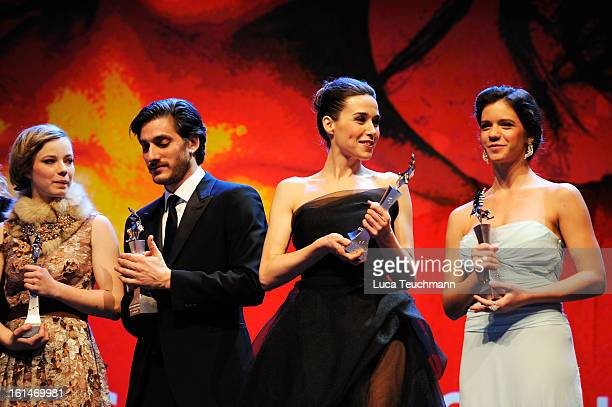 Saskia Rosendahl Luca Marinelli Arta Dobroshi and Ada Condeescu attend the Shooting Stars Stage Presentation during the 63rd Berlinale International...