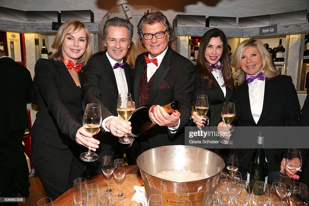 Saskia Valencia, Timothy Peach, Michael Hartl, Alexandra Polzin and Marianne Hartl during the Smoking Cocktail at Kaefer Atelier on January 26, 2016 in Munich, Germany.