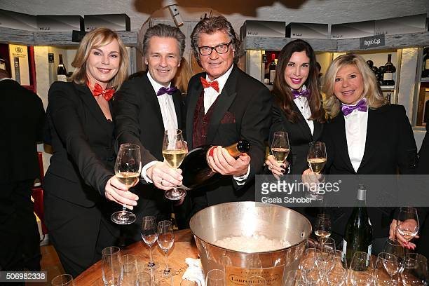 Saskia Valencia Timothy Peach Michael Hartl Alexandra Polzin and Marianne Hartl during the Smoking Cocktail at Kaefer Atelier on January 26 2016 in...