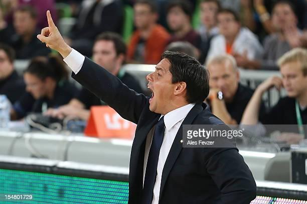Saso Filipovski Head Coach of Union Olimpija Ljubljana shouts instructions during the 20122013 Turkish Airlines Euroleague Regular Season Game Day 3...