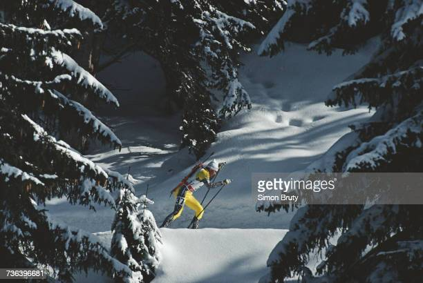 Saso Grajf of Slovenia competes in the Men's 20 kilometre individual biathlon competition on 20 February 1992 at the XVI Olympic Winter Games at Les...