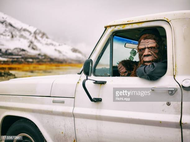 sasquatch truck driver - bigfoot stock pictures, royalty-free photos & images