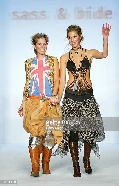 Sass & Bide designers Sarah-Jane Clarke and Heidi Middleton appear during the Sass & Bide Fall 2004 fashion show at Bryant Park during the Olympus...