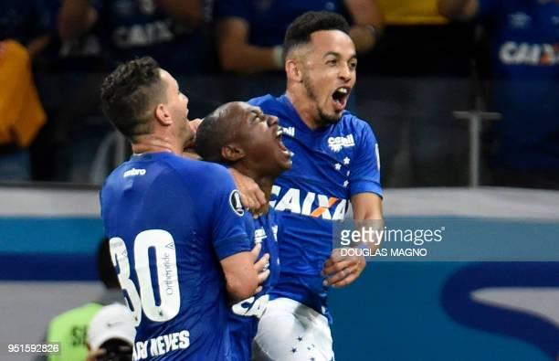 Sassa of Brazil's Cruzeiro celebrates his goal against Chile's Universidad de Chile during their 2018 Copa Libertadores match held at Mineirao...