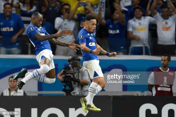 Sassa of Brazil's Cruzeiro celebrates with Rafinha his goal against Chile's Universidad de Chile during their 2018 Copa Libertadores match held at...