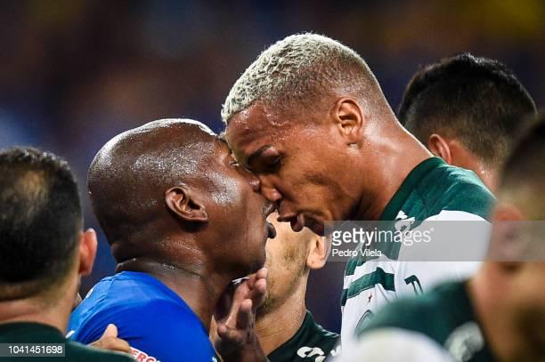 Sassa of Cruzeiro and Deyverson of Palmeiras fight during the game a match between Cruzeiro and Palmeiras as part of Copa do Brasil 2018 at Mineirao...
