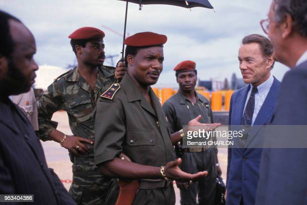 Sassou N'Guessou président du Congo et Albin Chalandon président du groupe pétrolier ELF en mars 1983 Congo
