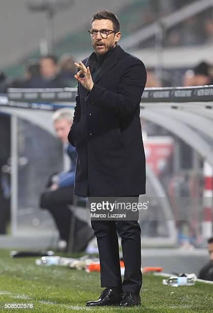 US Sassuolo Calcio coach Eusebio Di Francesco gestures during the Serie A match between US Sassuolo Calcio and AS Roma at Mapei Stadium Città del...