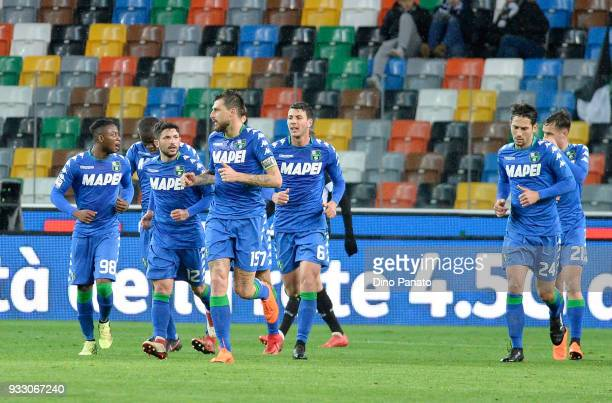 Sassuolo players celebrate after Khadim Ali Adnan of Udinese opening own goal during the serie A match between Udinese Calcio and US Sassuolo at...
